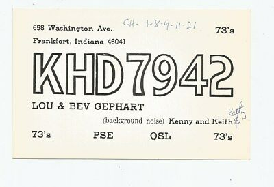 Nice used QSL Radio card from Frankfort Indiana
