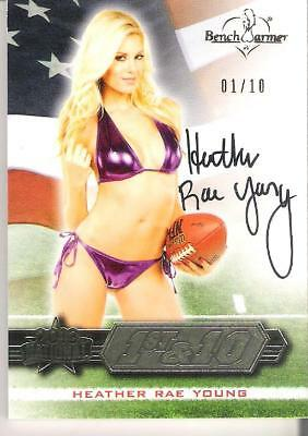 2013 Benchwarmer Trading Card Heather Rae Young 01/10 Autograph National 1st &10