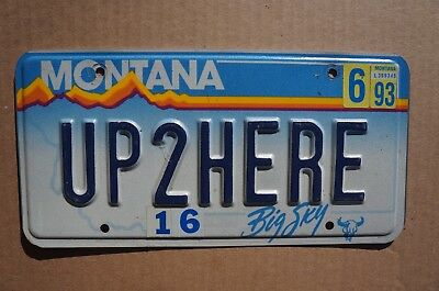 1993 Montana License Plate # UP2HERE