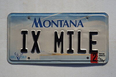 2002 Montana 9 Mile Vanity License Plate - IX MILE