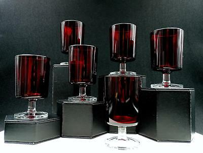 """Cristal D'arques Durand 6 Piece Cavalier Ruby Red 4 1/8"""" Wine Glasses"""