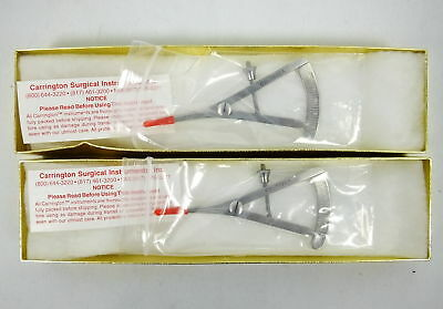 Lot 2 Carrington Surgical Instruments Castroviejo Caliper 20mm Scale Curved NEW