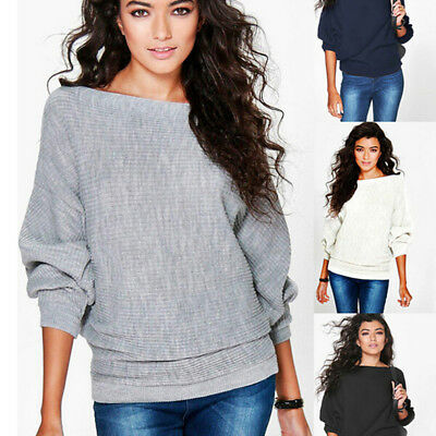 2018 Bat Sleeve Pullover Long Sleeve Knit Sweater Loose Casual Sweatshirt Tops