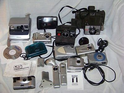 LOT of 14 vintage cameras - 3 Polaroid Instamatic types..35mm...digital