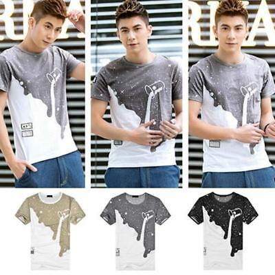 Men Casual Patchwork Pattern Paint bucket Printed Creative Short Sleeve T-shirt