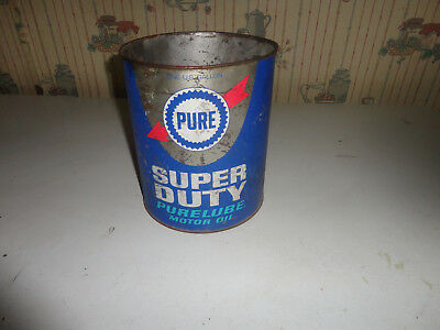 Pure Purelube Super Duty Motor Oil 5 Quart  Tin Can Vintage Pure Oil Can