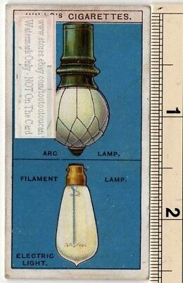 Early Electric Arc Lamp And Filament Bulb 100+ Year Old  Ad Trade Card