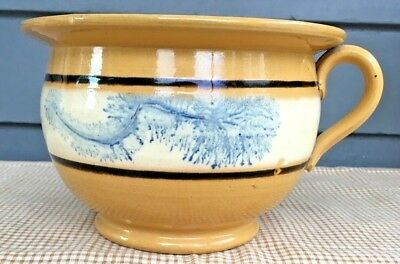 Antique 19th C Yellow Ware Blue Seaweed Mocha Chamber Pot 4 1/2 ""