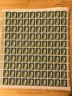 WWII Nazi Third Reich Germany, complete sheet Adolf Hitler 30pf