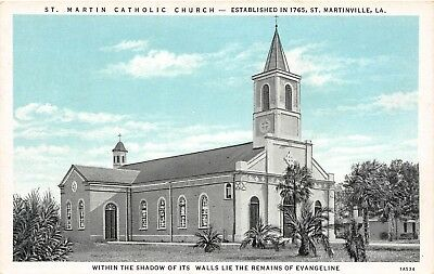 E9/ St Martinville Louisiana La Postcard c1940s St Martin Catholic Church