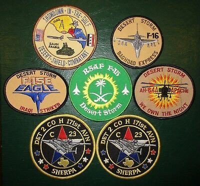 Lot of 7 Mixed USAF US Army Patches Desert Shield/Storm, Det 2 Co H 171st AVN