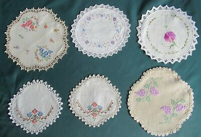 Lot of 6 vintage HAND-EMBROIDERED DOILIES Silk threads & Crochet Edges all clean
