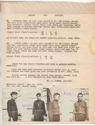 1919 Stockton CA police circular w/ mug shot photos - forgers