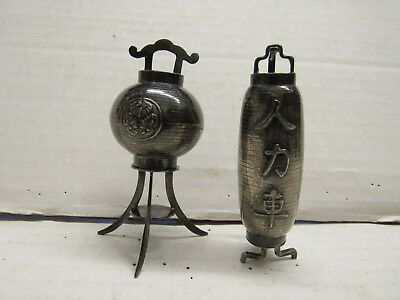 Vintage Sterling Silver Fancy & Unusual Japanese Salt & Pepper Shakers
