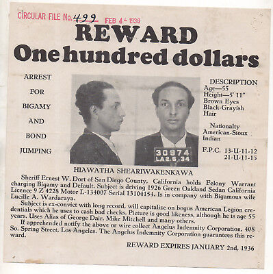 1936 San Diego police wanted flyer - Sioux Indian - bigamy