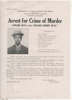 1918 Stockton CA police wanted poster flyer - murderer - escaped state hospital