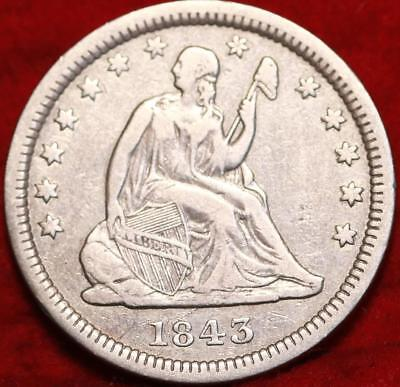 1843 Philadelphia Mint Silver Seated Liberty Quarter