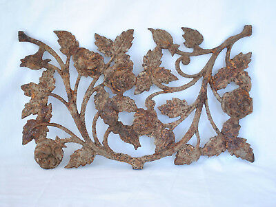 Original Antique Roses Cast Iron Architectural Salvage Wall Garden Hanging