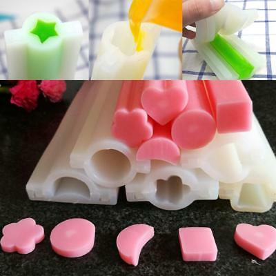 Tube Column Mold Heart Round Silicone Templet Hand Craft DIY Candle Soap Mould