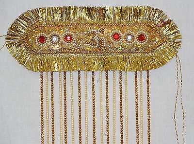 Indian Bollywood Wedding Grooms Mens Sehra Sehera Headband Pearls Gold Beads New