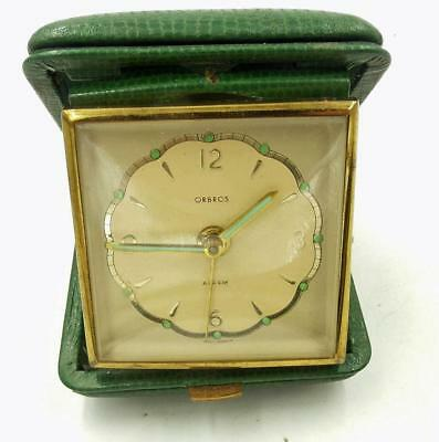 Vintage Orbos Germany Travel Alarm Clock With Glow Hands Works Scarce