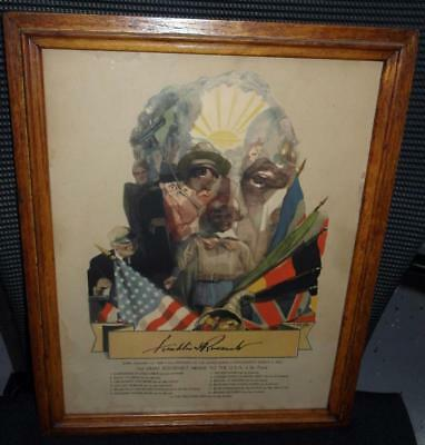 Original 1933 Frd Franklin Roosevelt Unusual Poster By C. C. Beall Framed