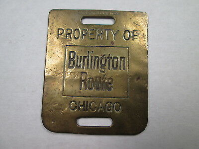 CB&Q Burlington Route Brass Baggage Check Tag