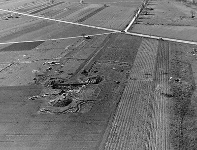 WWII Aerial Photo German Positions in Normandy WW2 B&W World War Two / 8011