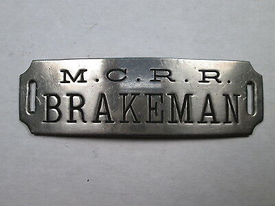 MC Michigan Central Railroad BRAKEMAN Uniform Hat Badge w/Brooks Hallmark