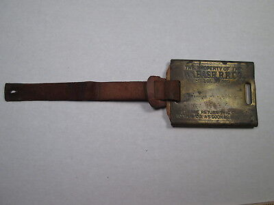 Wabash Railroad Brass Baggage Check Tag w/Leather Strap & Strap Check Inside