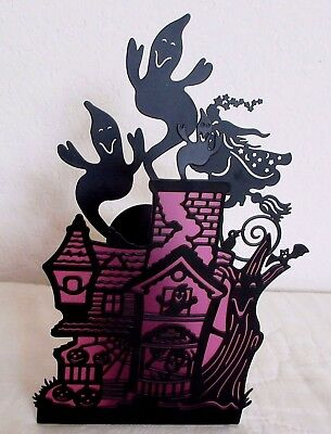 1980's Partylite Silhouette Haunted House, Dancing Ghost Candle Holder