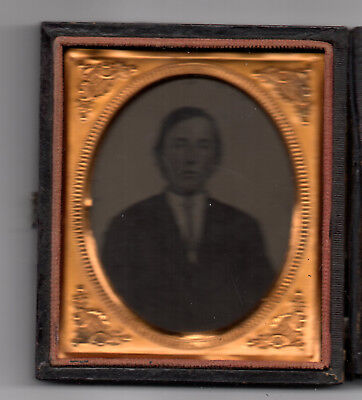 Young Man Tin Type Photograph in Display case and copper frame.