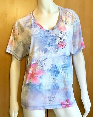 Women's PLUS size 2X XCIT USA tee with BLING - watercolor print- nice!