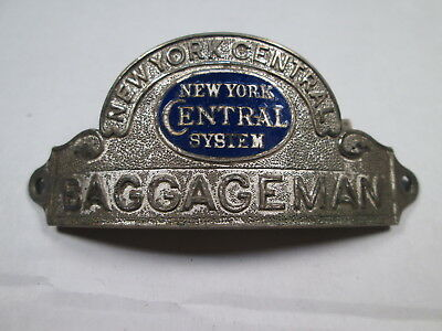 NYCS New York Central System BAGGAGEMAN Uniform Hat Badge