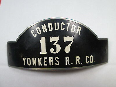 Yonkers Railroad Company CONDUCTOR Uniform Hat Badge - Heeren Bros. Hallmarked