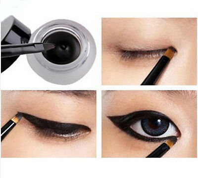 Waterproof Eye Liner Eyeliner Shadow Gel Makeup Cosmetic + Brush Black Hot TB