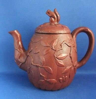 Antique Early 19Thc Rosso Antico Redware Teapot With Squirrel Finial-Wedgwood