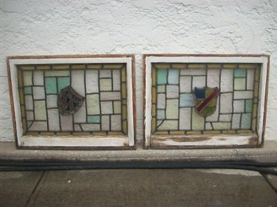 "Pair Of Vintage Antique Stained Glass Windows Original Sashes  32"" X 24 1/2"""