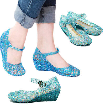AU Kids Girls Frozen Elsa Crystal Jelly Sandals Cosplay Fancy Dress Party Shoes