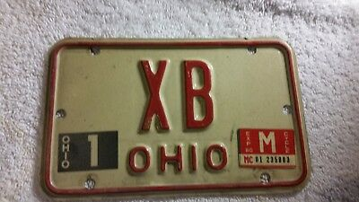 Ohio Motorcycle License Plate XB Red/White 1980 Expired & Obsolete