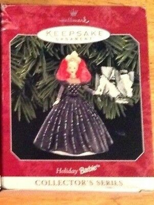 "1998 ""HOLIDAY BARBIE #6 COLLECTOR'S SERIES"" Hallmark Keepsake Ornaments/Blk&Slvr"