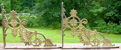 Matching Pair of Antique Victorian Eastlake Cast Iron Brass Coat Shelf Brackets