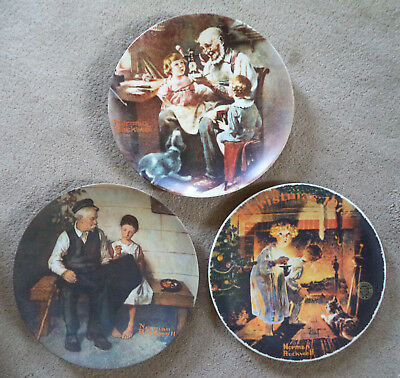 (3) NORMAL ROCKWELL Collector Plate - Toy Maker, Lighthouse Daughter, Up There