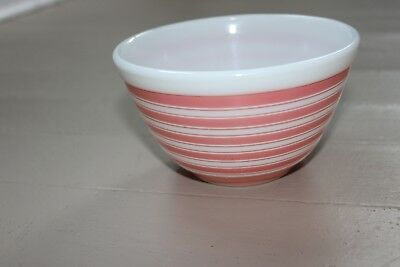 Pyrex 401 Pink and White Striped 1 and 1/2 Pint Mixing Bowl Ovenware