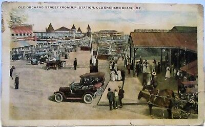 1915 Postcard Old Orchard Street From R.r. Station Old Orchard Beach Me
