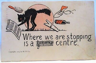 1905 Postcard Black Cat Singing, Where We Are Stopping Is A  Centre