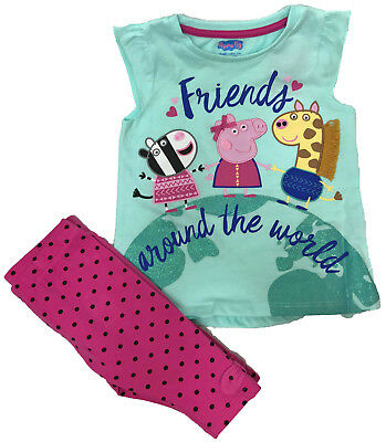 Kids Peppa Pig Childrens Top & Cropped Pants Summer Holiday Outfit Ex Stock New
