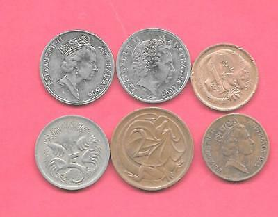 Australia 6 Diff Different 1969-2006 Coin Lot Collection Set Inc Old & Bronze