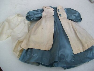 Alte Puppenkleidung Blue Dress Coat Outfit vintage Doll clothes 50 cm Girl