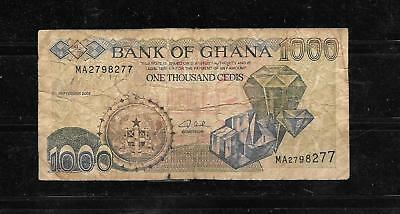 GHANA #32h 2002 GOOD CIRC 1000 CEDIS OLD BANKNOTE PAPER MONEY CURRENCY BILL NOTE